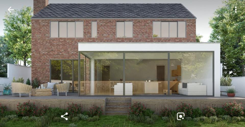 Drawings complete for modern glazed extension in Hale Barns.